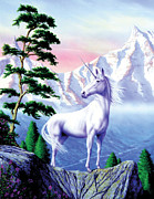 Fantasy Animal Prints - Unicorn the land that time forgot Print by Garry Walton