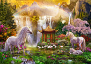 Mountain Valley Digital Art Posters - Unicorn Valley of the Waterfalls Poster by Jan Patrik Krasny