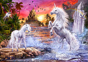 Mystery Digital Art Posters - Unicorn Waterfall Sunset Poster by Jan Patrik Krasny