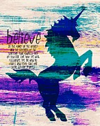 Believe Mixed Media - Unicorns Believe by Brandi Fitzgerald