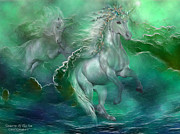 Fantasy Art Mixed Media Posters - Unicorns Of The Sea Poster by Carol Cavalaris