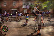 Nyc Scenes Posters - Unicyclist - Unicycle training camp Poster by Mike Savad