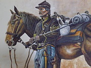 Soldier Paintings - Union Cavalry by Martin Schmidt