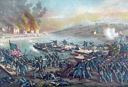 Military Painting Framed Prints - Union forces under Burnside crossing the Rappahannock Framed Print by American School