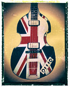 Punk Bass Framed Prints - Union Jack Bass Guitar Print Framed Print by Artful Musician NY