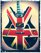 Music Art Prints - Union Jack Guitar Print Print by Artful Musician NY