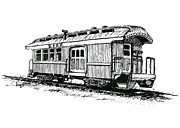 Union Drawings Framed Prints - Union Pacific Combine Car Framed Print by Sam Sidders