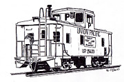 Railroads Drawings Framed Prints - Union Pacific Pool Caboose Framed Print by Craig Bass