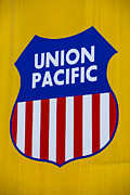 Railroads Photo Metal Prints - Union Pacific raolroad sign Metal Print by Garry Gay