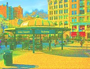New York City Pastels Posters - Union Sqaure Poster by Dan Hilsenrath