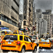 Cabs Framed Prints - Union Square Cabs Framed Print by Mike Lindwasser Photography