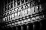 White Pillars Posters - Union Station Chicago Sign in Black and White Poster by Paul Velgos