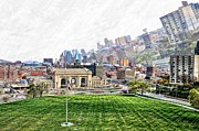 Pen Digital Art - Union Station KCMO and City View by Liane Wright