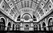 Union Station Lobby Framed Prints - Union Station Lobby Black and White Framed Print by Kristin Elmquist