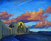 Cincinnati Painting Posters - Union Terminal Building Sunset Poster by Erik Schutzman