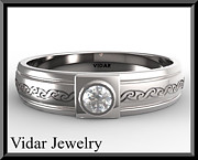 Featured Jewelry - Unique 14k White Gold Diamond Mens Wedding Ring by Roi Avidar