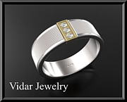 Featured Jewelry - Unique 14k Yellow And White Gold Diamond Mens Wedding Ring by Roi Avidar