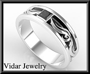 Black Ring Jewelry Originals - Unique 2 Tone Mens Wedding Ring - Black And White Gold Men Wedding by Roi Avidar