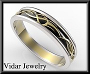 Black Ring Jewelry Originals - Unique 3 Tone Men Wedding Ring - Black And White And Yellow Gold by Roi Avidar