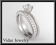 14k Jewelry - Unique And Beautiful White Gold Diamond Wedding Ring Set  by Roi Avidar