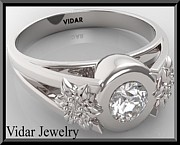 Featured Jewelry - Unique Flower Diamond 14k White Gold Engagement Ring  by Roi Avidar