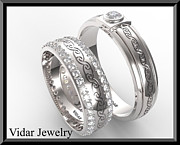 Band Jewelry Originals - Unique His And Hers Matching Diamond And 14kt Gold Wedding Band Set by Roi Avidar