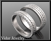 Band Jewelry Originals - Unique His And Hers Matching Diamond And 14kt White Gold Wedding Band  by Roi Avidar