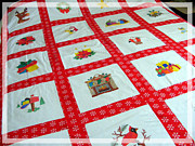Red And White Quilt Framed Prints - Unique Quilt with Christmas Season Images Framed Print by Barbara Griffin