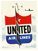 United Airlines Prints - United Airlines Print by Nomad Art And  Design