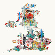 Watercolor Map Mixed Media - United Kingdom map watercolours by Brian Buckley