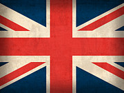 Flag Prints - United Kingdom Union Jack England Britain Flag Vintage Distressed Finish Print by Design Turnpike