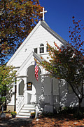 Fall Photos Posters - United Methodist Parish House Poster by Juergen Roth