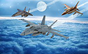 Screaming Digital Art Posters - United States Air Force Poster by Michael Rucker