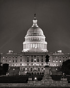D.c Posters - United States Capitol at Night Poster by Olivier Le Queinec