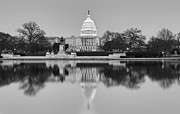 Nightscapes Prints - United States Capitol Building BW Print by Susan Candelario