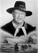 John Wayne Drawings Framed Prints - United States Cavalry bw Framed Print by Andrew Read