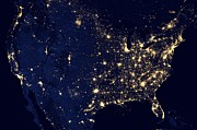Outer Space Photos - United States City Lights from Space  by Movie Poster Prints