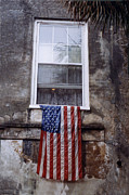 Savannah Architecture Framed Prints - United States Flag - Savannah Georgia Window  Framed Print by Kathy Fornal