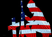 Navy Prints - United States Flag with kneeling Soldier silhouette Print by Bob Orsillo