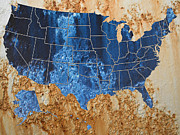 Cartography Digital Art - United States in Navy Blue and Rust by Paulette Wright