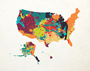 Abstract Map Posters - United States Map Art Poster by World Art Prints And Designs