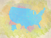 Most Digital Art Posters - United States Map - cyan and watercolor Poster by Paulette Wright