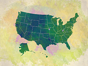 Most Digital Art Posters - United States Map - green and watercolor Poster by Paulette Wright