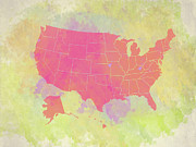 United States Map - Red And Watercolor Print by Paulette B Wright