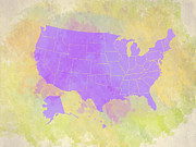 Most Digital Art Posters - United States Map - violet and watercolor Poster by Paulette Wright