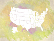 Most Popular Digital Art - United States Map - white and watercolor by Paulette Wright