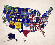 United States Map With Fifty States Print by World Art Prints And Designs