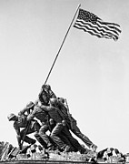 U S Flag Digital Art Posters - United States Marine Corps Flag Raising Poster by Daniel Hagerman