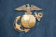 Usmc Prints - United States Marine Corps Insignia in Gold on Blue Print by Jannis Werner