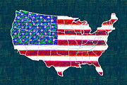 Flag Of Usa Digital Art Prints - United States of America - 20130122 Print by Wingsdomain Art and Photography